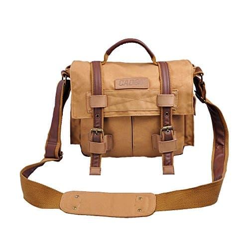 Caden Canvas Camera Bag Sling Vintage Shoulder Padded Insert Messenger Bag for DSLR SLR Digital Camera