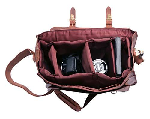 FeatherTouch Leather Camera DSLR Travel Bag