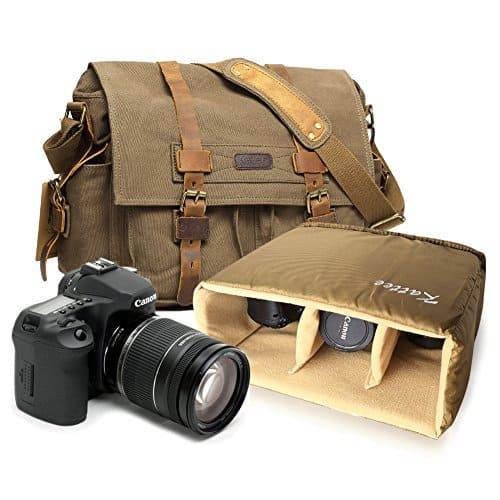 Kattee Men's Canvas Leather DSLR SLR Vintage Camera Messenger Bag