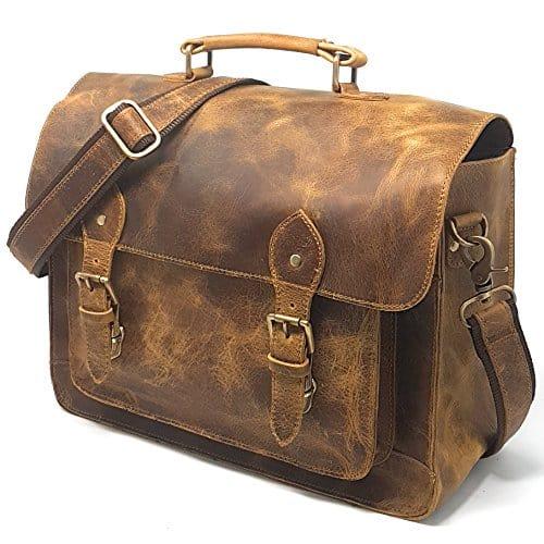 Purple Relic Leather Camera Messenger Bag