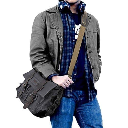 S-ZONE Vintage Canvas Leather Trim DSLR SLR Camera Shoulder Messenger Bag